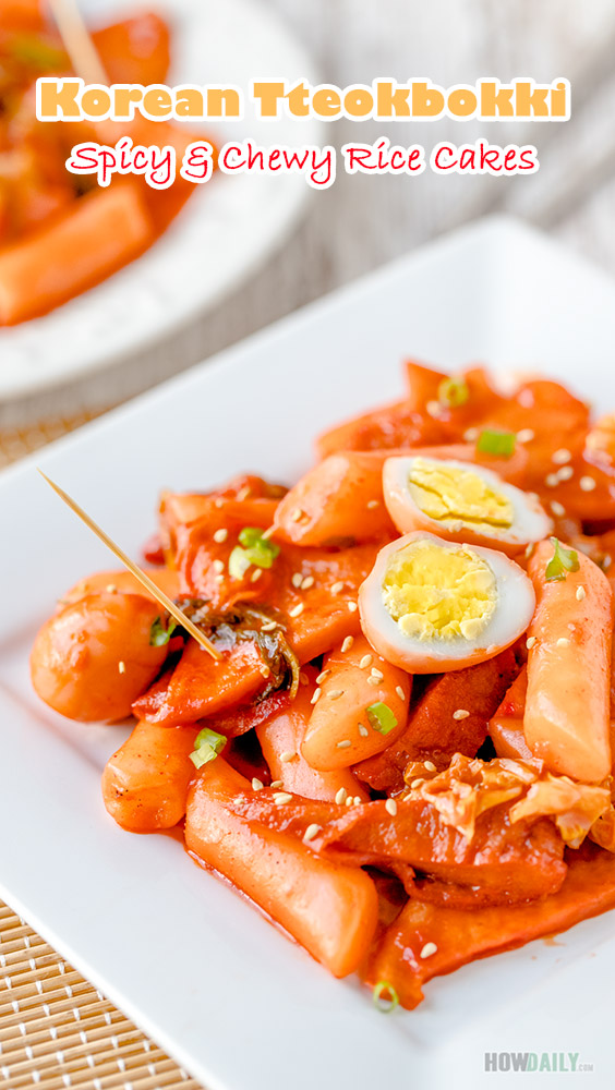 Spicy and Chewy Korean Rice Cakes (Tteokbokki Recipe)