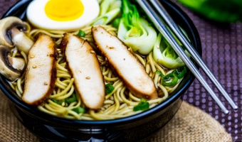 Japanese chicken ramen with bok choy