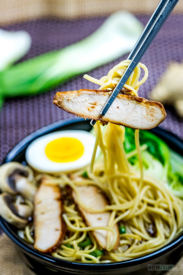 Roasted chicken breast and ramen