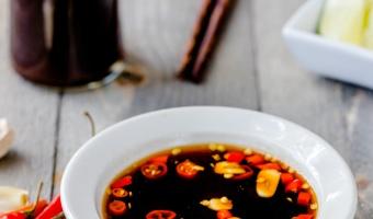 Vegan fish sauce with garlic and chili