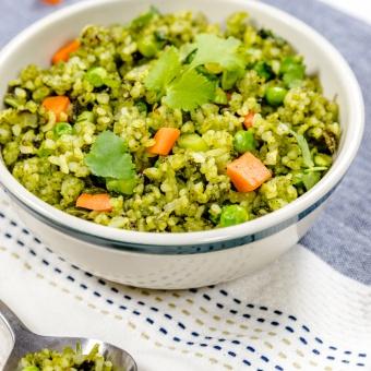 Vegetarian fresh green fried rice