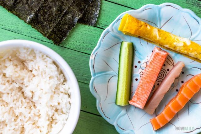 Ingredients for Hosomaki roll