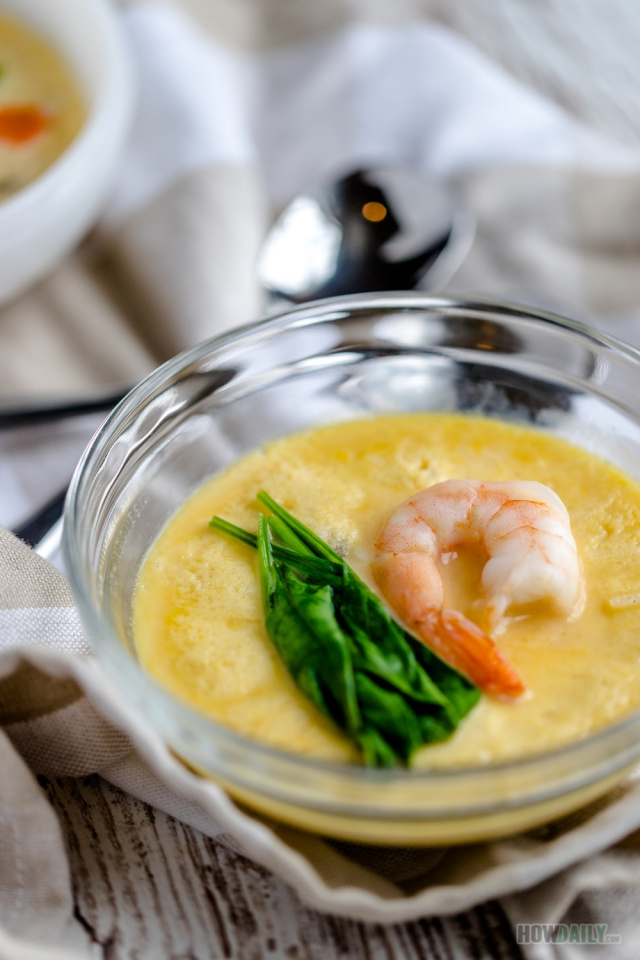Steamed egg custard with shrimp
