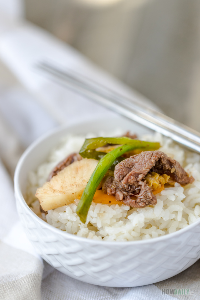 Kimchi beef with white rice