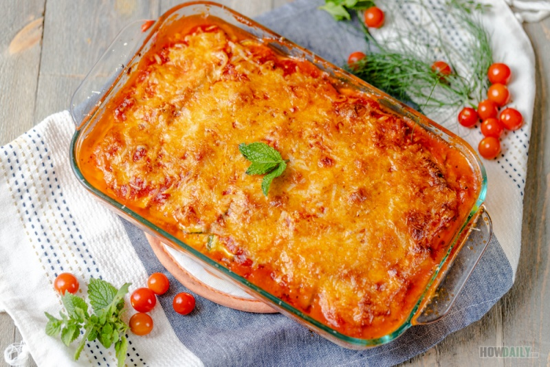 oven-baked zucchini lasagna with Italian sausage