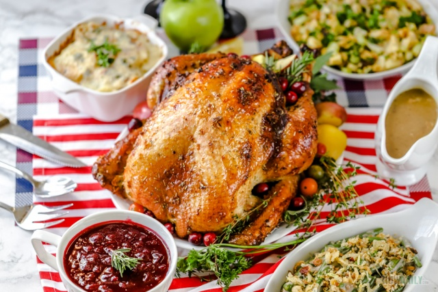 Thanksgiving dinner with Garlic-butter & Herb turkey
