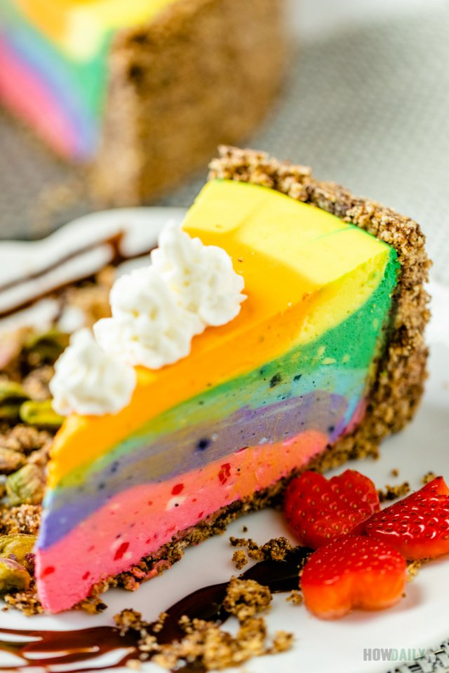 Colorful Rainbow Cheesecake