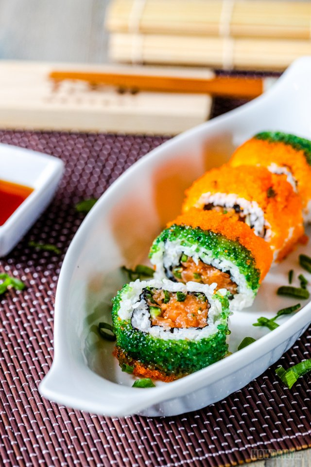 Spicy Salmon Sushi Roll with masago and tobiko