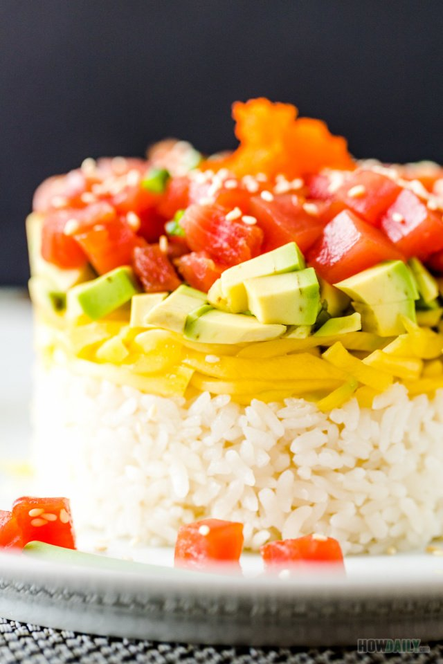 Tuna Avocado Mango Sushi Tower